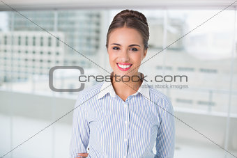 Smiling brunette businesswoman looking at camera