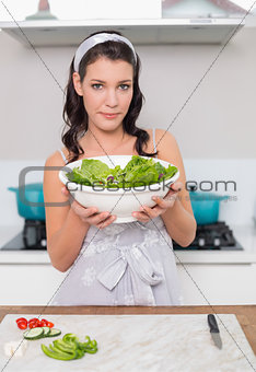 Calm pretty brunette holding healthy salad