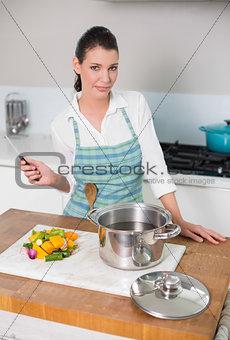 Calm pretty woman wearing apron posing