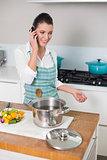 Cheerful pretty woman wearing apron having a call
