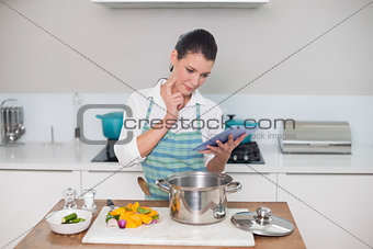 Focused gorgeous woman wearing apron using tablet