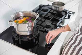 Close up on woman cooking vegetables