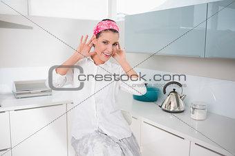 Cheerful charming woman having fun