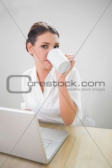 Charming businesswoman working on laptop drinking coffee