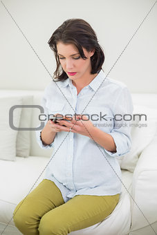 Concentrated pregnant brown haired woman using her mobile phone