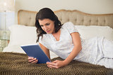 Concentrated pretty brown haired woman using a tablet pc