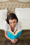 Peaceful pretty brown haired woman reading a book