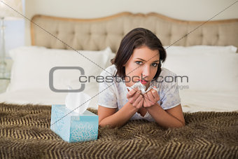 Calm pretty brown haired woman sneezing in a tissue