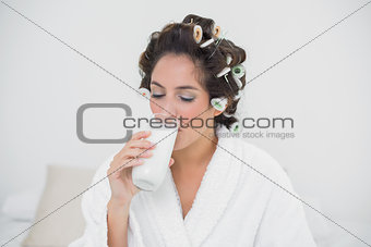 Calm natural brunette drinking glass of milk