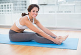 Sporty smiling brunette stretching