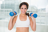 Sporty smiling brunette holding dumbbells