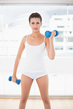 Serious natural brown haired woman in white sportswear exercising with dumbbells