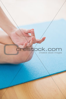 Close up of a hand meditating