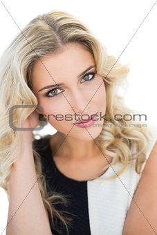Smiling attractive blonde model looking at camera