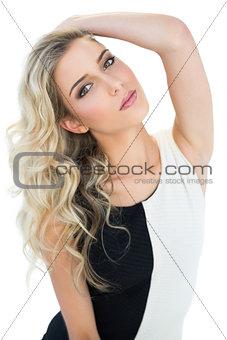 Attractive blonde model tilting her head