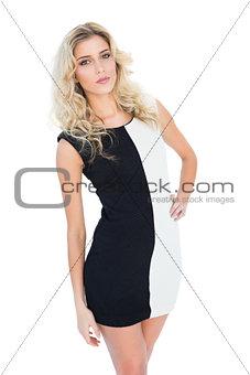 Attractive blonde model posing at camera