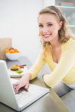 Cheerful smiling cute blonde using laptop