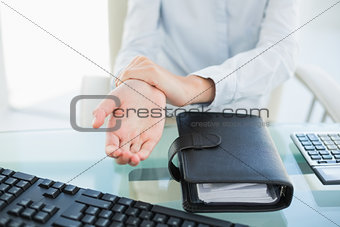 Close up of a businesswoman showing her hand