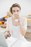 Beautiful woman drinking of disposable cup using her notebook in kitchen