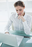 Gorgeous calm businesswoman working with her notebook