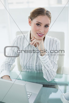 Beautiful smiling businesswoman sitting at her desk using her notebook