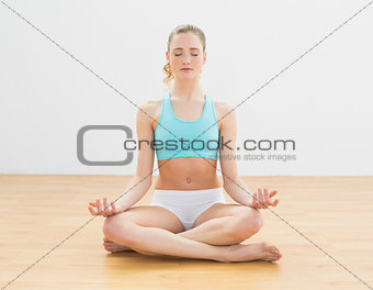 Focused slim blonde sitting in lotus pose