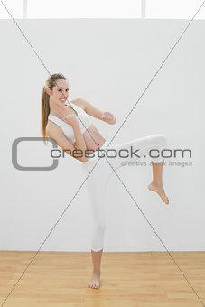 Cute woman wearing sportswear doing martial arts in sports hall