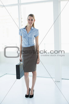 Attractive classy businesswoman posing holding a briefcase