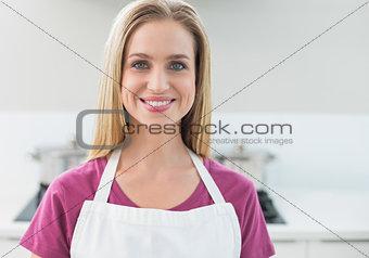 Casual cheerful blonde looking at camera