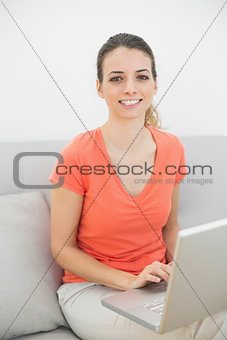 Smiling brunette woman working with her notebook looking at camera
