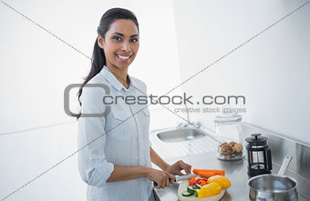 Attractive black haired woman preparing salad