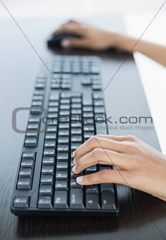 Close up of female hands working on computer