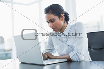 Attractive young businesswoman working using her laptop