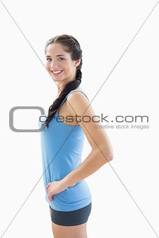 Slim smiling woman in sportswear