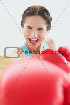 Beautiful young woman in red boxing gloves at fitness studio