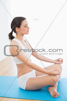 Toned brunette sitting in lotus pose at fitness studio