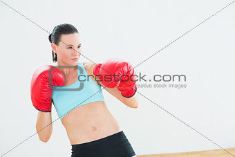 Fit beautiful young woman in red boxing gloves