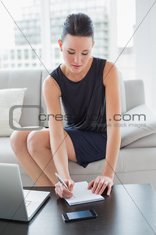 Beautiful businesswoman writing notes by laptop on sofa