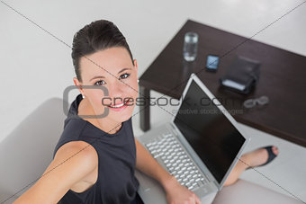Beautiful well dressed woman with laptop on sofa