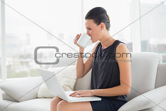 Beautiful well dressed woman using laptop while drinking coffee on sofa