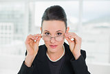 Elegant businesswoman wearing eyeglasses