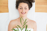 Brunette lying with leaves in beauty salon