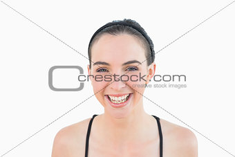 Close up portrait of a sporty woman smiling