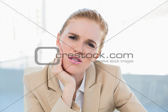 Close up of businesswoman having toothache