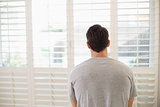 Rear view of man looking through window blinds at bright room