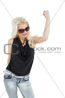 Beautiful casual blond cheering