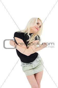 Beautiful casual young blond dancing