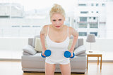 Serious woman with dumbbells at fitness studio
