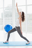 Fit young woman stretching hand in fitness studio