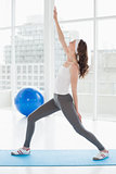 Fit woman stretching hand in a fitness studio